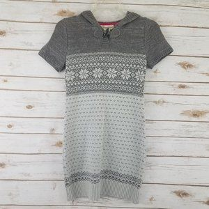 Hooded Sweater Dress w/ Silver Sparkle